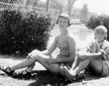 Grace and Ann at Monahans swimming pool, 1950