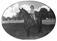 Barb on Skippy at Corydon's Harrison County Fairgrounds, 1947 or 1948
