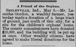 Land donation by Leonidas Gordon, 1890
