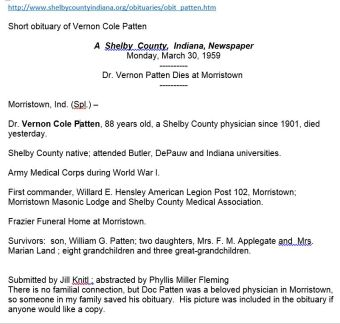Vernon Cole Patten short obituary, 1959
