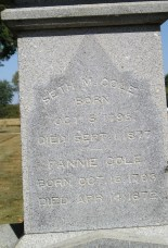 Seth and Fanny Warren Cole stone