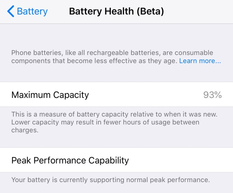 iOS Battery Health