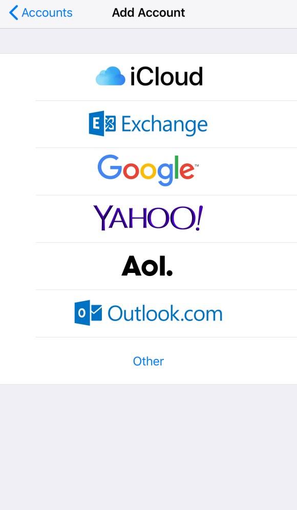 Add Account on iOS