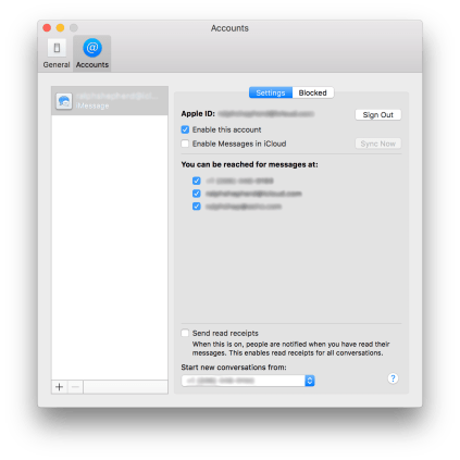 macOS iMessage Settings