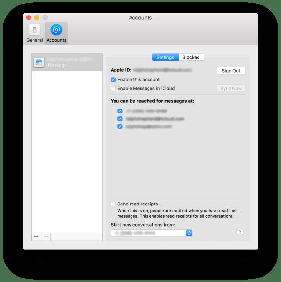 macOS iMessage Settings