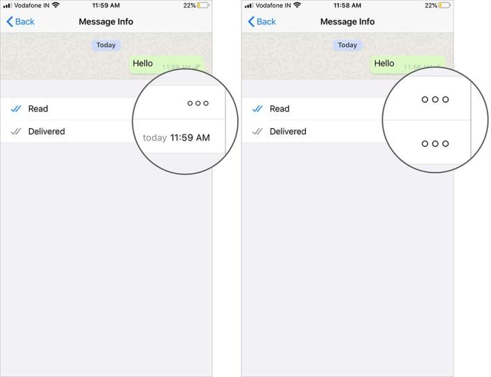 تحقق قراءة إيصالات تسليم وقراءة في رسالة معلومات على WhatsApp