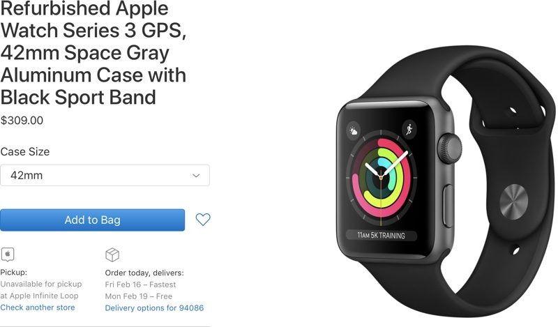 Apple now selling refurbished Apple Watch Series 3 models