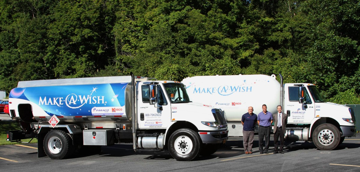 Paraco Kosco - MAW Delivery Truck Photo Left to right: Mike Berardi, Dutchess County Manager, Paraco-Kosco, John Armentano, Vice President, Paraco Gas and Barry Motzkin, General Manager, Kosco with the oil and propane trucks that will be part of the program.