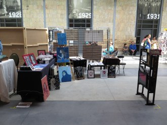 All set up--Apple of my Odd eye's stall at Wychwood Barns