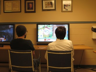 Devin competing in the gaming tournament.