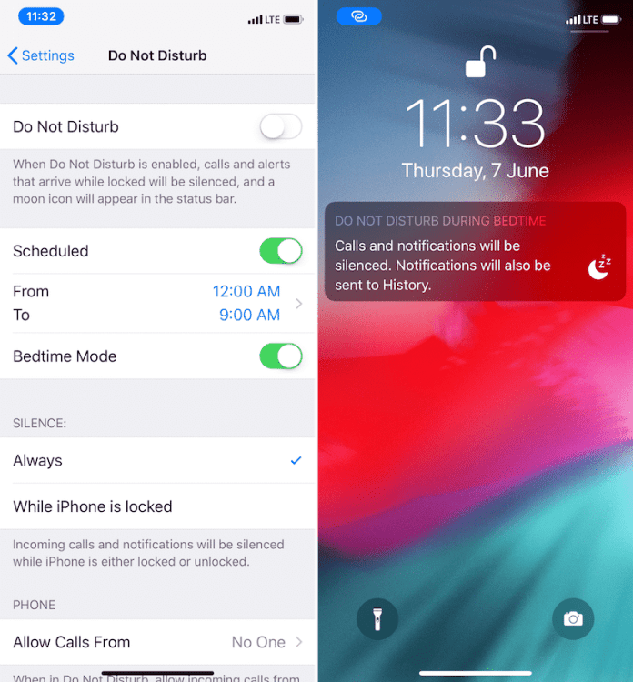 iOS 12 – How to Enable Do Not Disturb at Bedtime