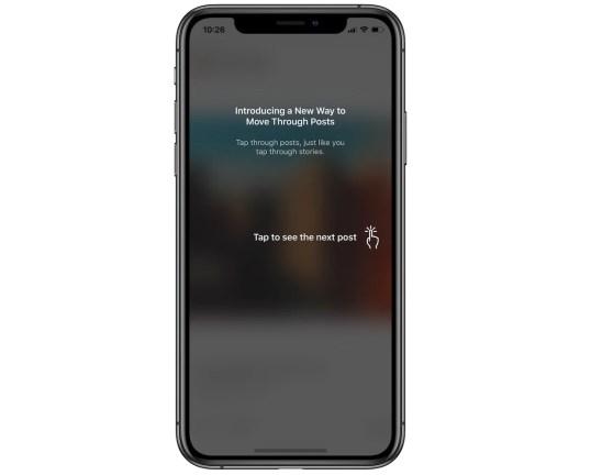An iPhone X displays a new Instagram menu