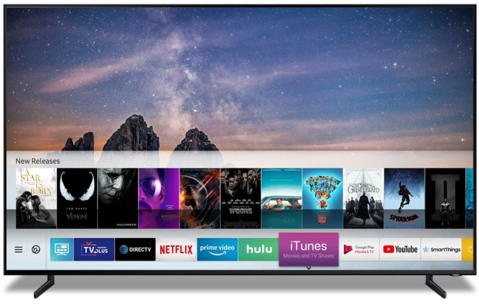 Samsung Smart TV showing the new iTunes App