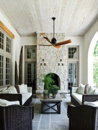 love it all: painted brick, trim color, outdoor fireplace ...