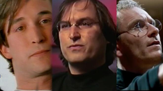 Слева: Ной Вайл в роли Стива Джобса. Справа: Майкл Фассбендер в роли Стива Джобса. В центре: сам Стив Джобс.