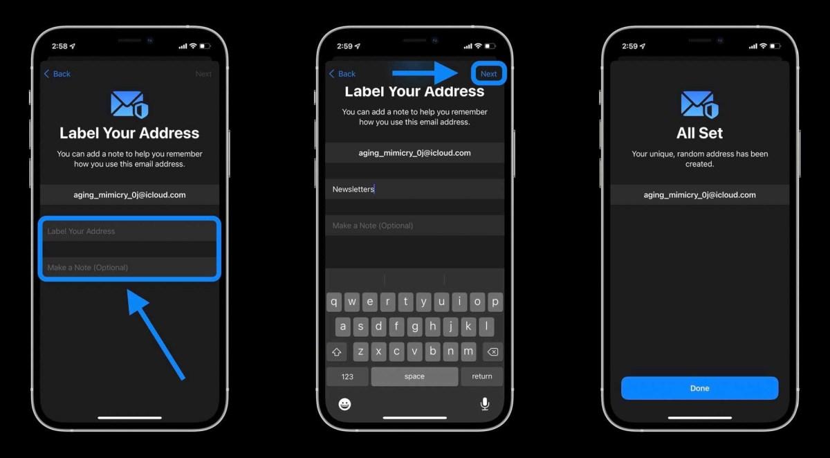 Как скрыть мою электронную почту на iPhone в iOS 15 с помощью iCloud + - Добавьте метку и, если хотите, заметки для псевдонима