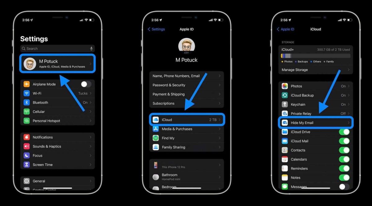 Как скрыть мою электронную почту на iPhone в iOS 15 с помощью iCloud + - Перейдите в приложение «Настройки», нажмите на свое имя и затем «Скрыть мою электронную почту».