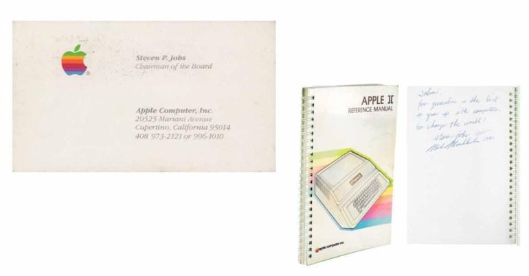 Подписанное Стивом Джобсом руководство по Apple II продано на аукционе за 787 тысяч долларов, визитная карточка продается за 13 тысяч долларов