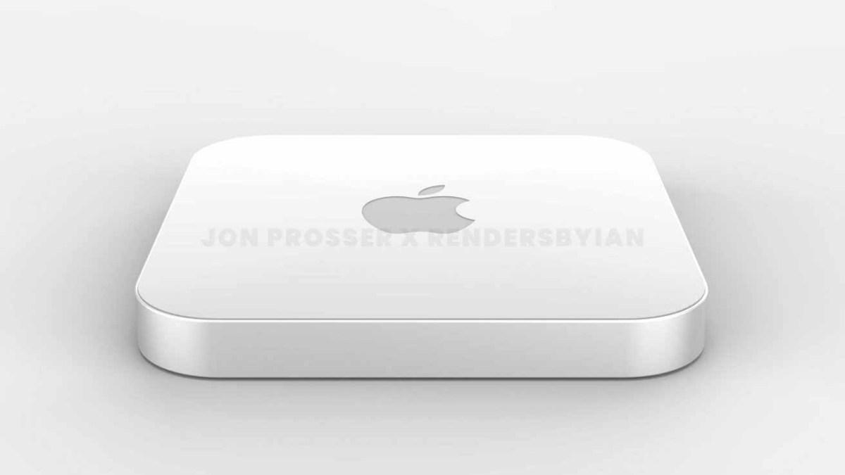Визуализация того, как может выглядеть новый Mac mini, с крышкой из плексигласа.