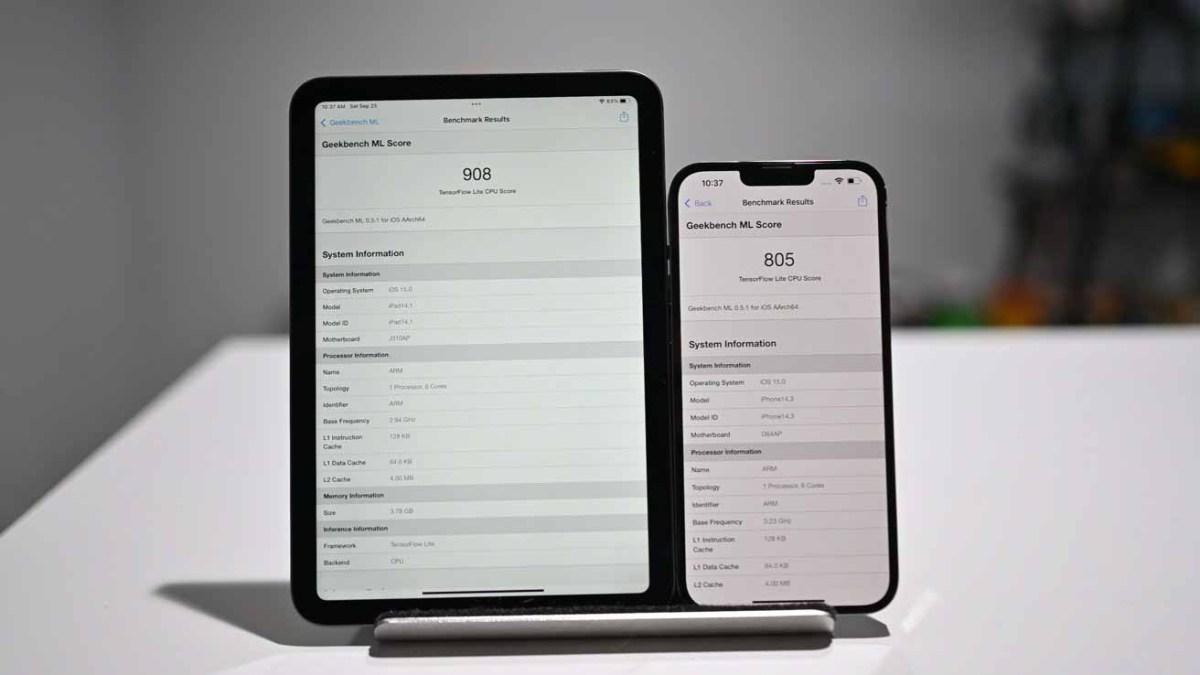 Результаты Geekbench ML на новом iPad mini и iPhone 13 Pro Max