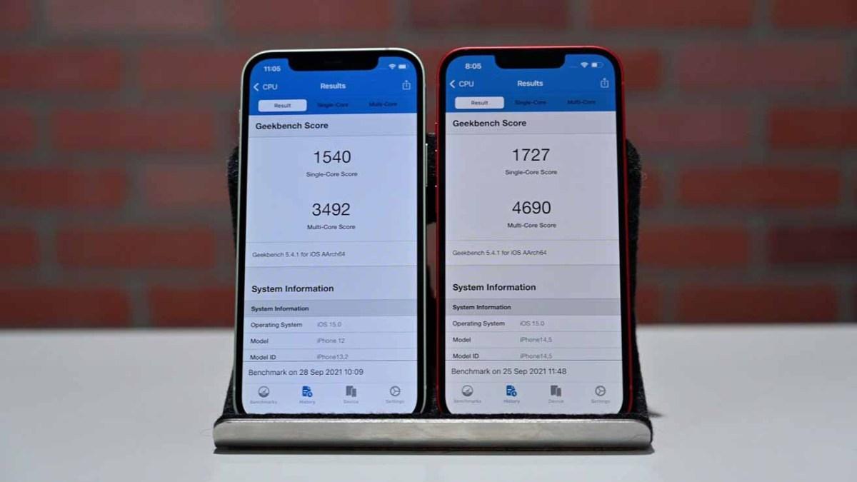 Результаты Geekbench для iPhone 12 (слева) и iPhone 13 (справа)