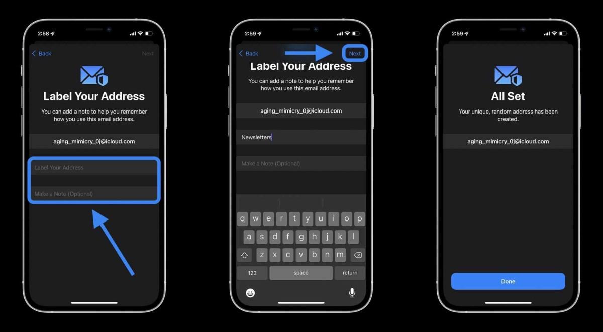 Как скрыть мою электронную почту на iPhone в iOS 15 с помощью iCloud + - Добавьте метку и, если вы хотите, чтобы примечания к псевдониму