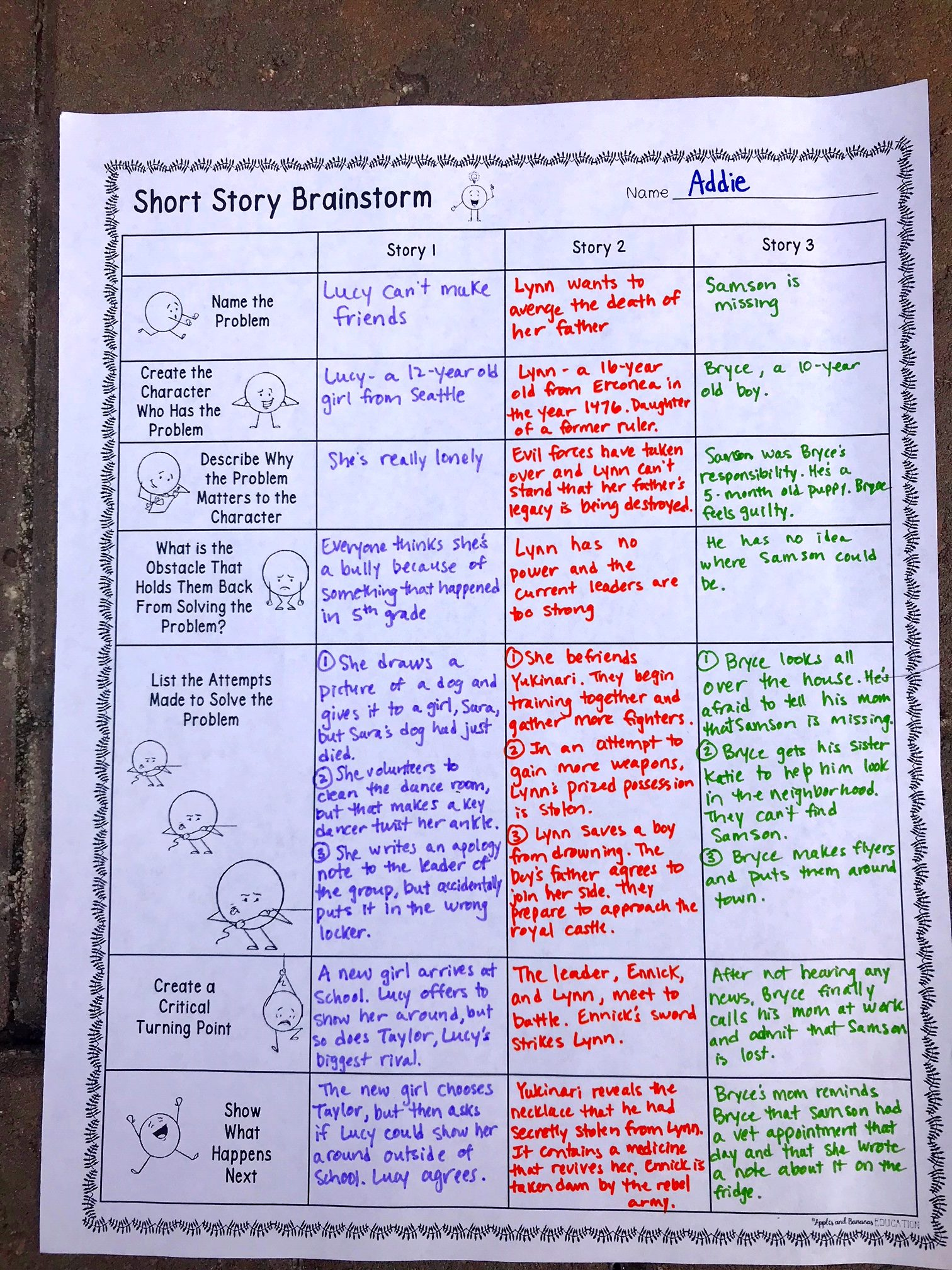 Short Story Pre Writing And Brainstorm Activity
