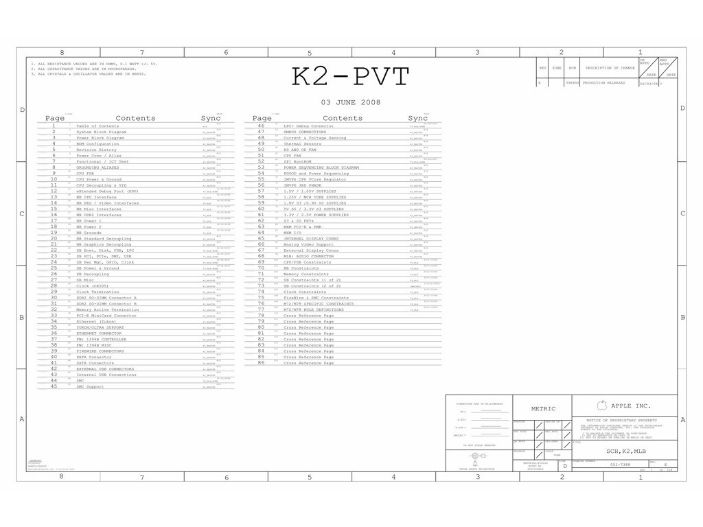 APPLE IMAC 20″ LOGIC BOARD SCHEMATIC – K2-PVT