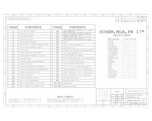 APPLE POWERBOOK G4 17″ A1013 LOGIC BOARD SCHEMATIC