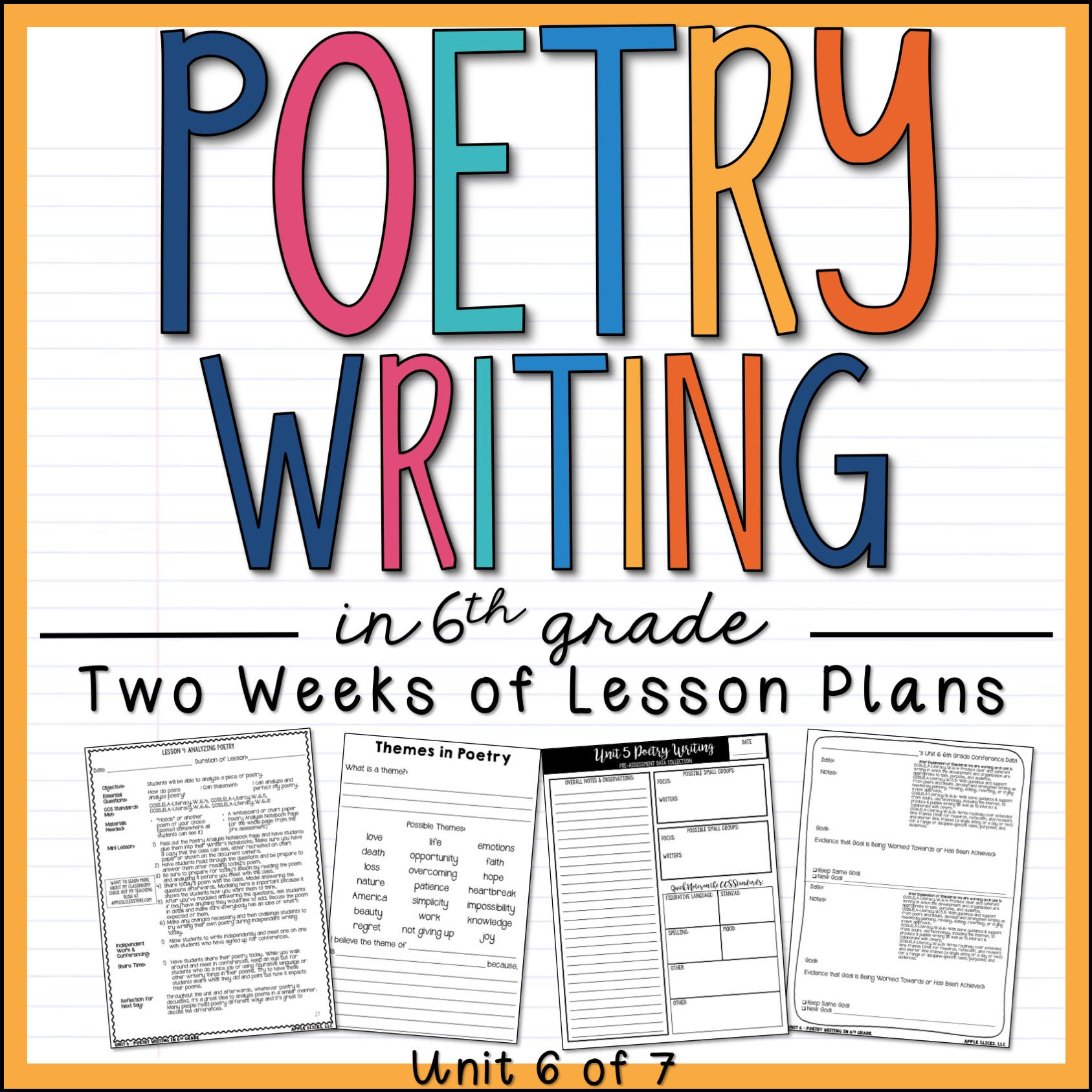 Poetry Writing 6th Grade Units