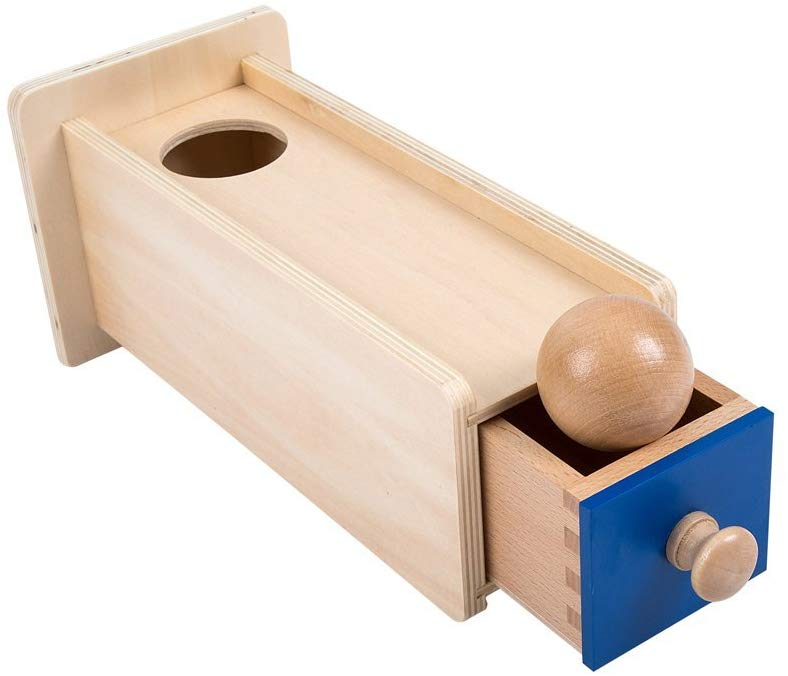Gifts for 10 and 11 month olds. The perfect gifts for babies 40 to 52 weeks old. This object permanence box is great for helping babies learn about object permanence.