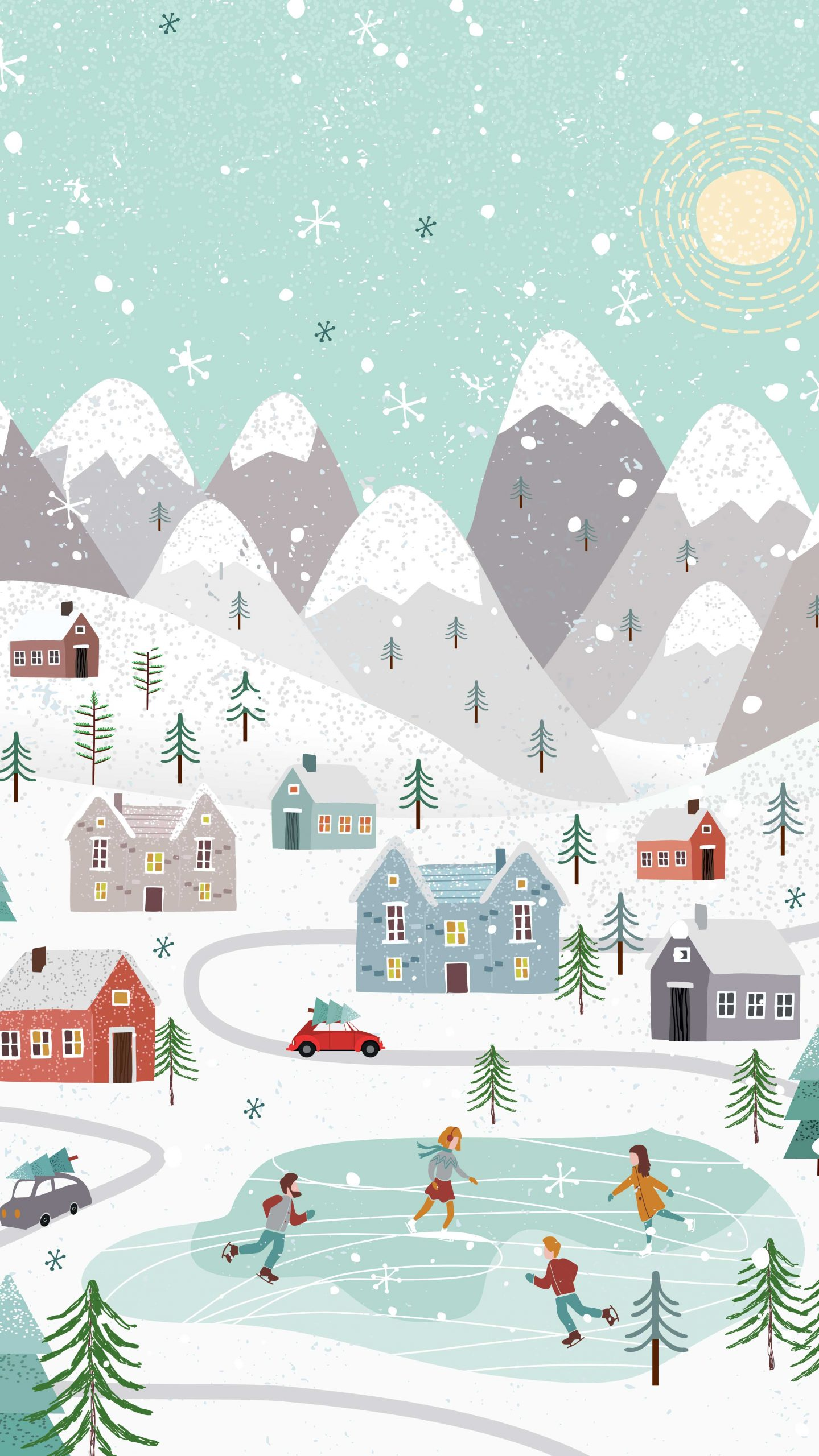 Free Winter Holiday Phone Wallpaper. Cute, fun, and folksy!