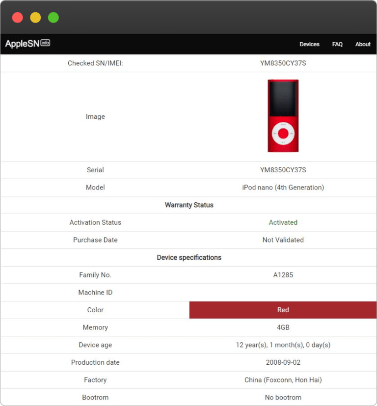 Apple iPod Nano 4th generation Serial Number Lookup