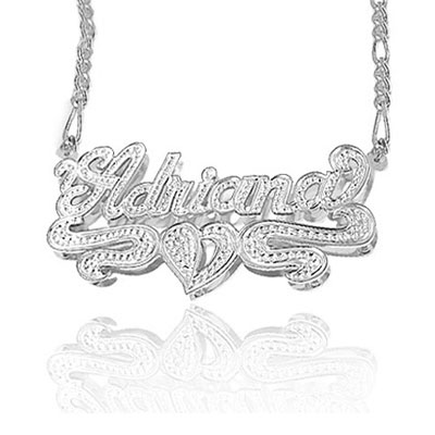 3 Dimensional Name Plate Pendant Necklace In Sterling Silver