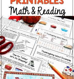 Fun Thanksgiving Printables for Math and Reading - Appletastic Learning [ 1104 x 720 Pixel ]