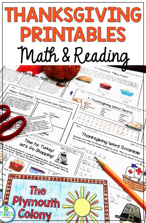small resolution of Fun Thanksgiving Printables for Math and Reading - Appletastic Learning