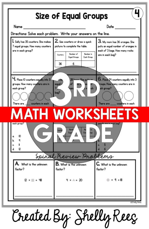 small resolution of 3rd Grade Math Worksheets Free and Printable - Appletastic Learning