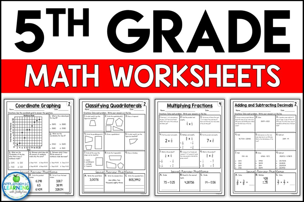 medium resolution of 5th Grade Math Worksheets Free and Printable - Appletastic Learning