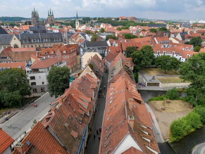 Aussicht auf die Krämerbrücke vom Ägidienturm Erfurt