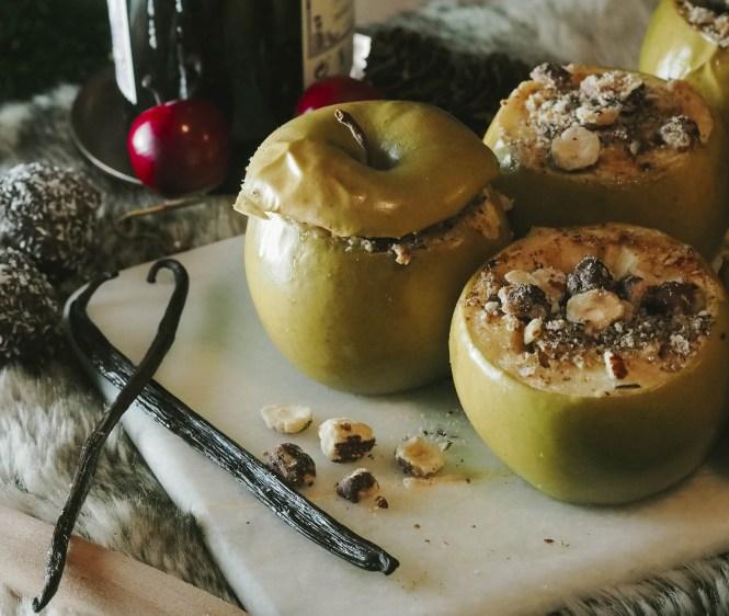 vegane Bratäpfel mit Vanillesoße