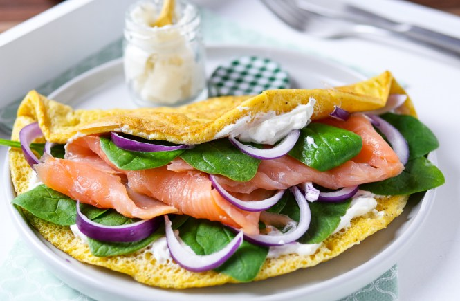 Lowcarb Omelette mit Lachs