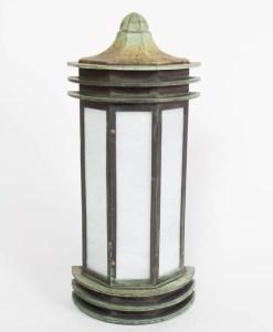 Verdigris Bronze Exterior Wall Lantern with White Slag Glass