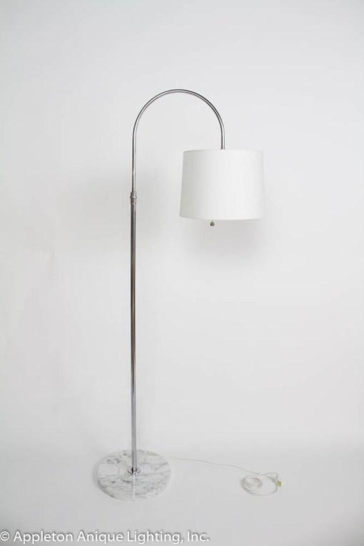 Mid Century Italian Chrome Arc Floor Lamp with Marble Base