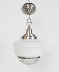 Set of three art deco glass pendant fixtures