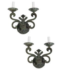 Pair of Verdigris Sconces