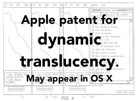 Apple patent application for dynamic translucency