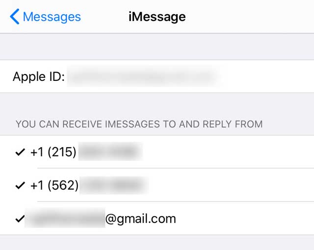 eSIM settings for iMessage for two phone number for Send & Receive