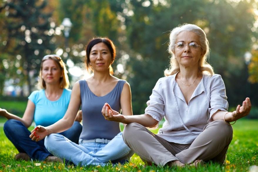 Three ladies doing yoga in the park