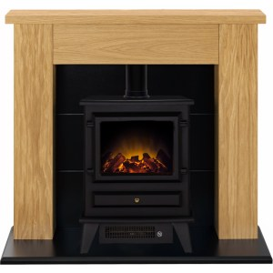 Adam Fires Stocksmoor Suite with Hudson Electric Fire 21877 Suites & Surround in Oak