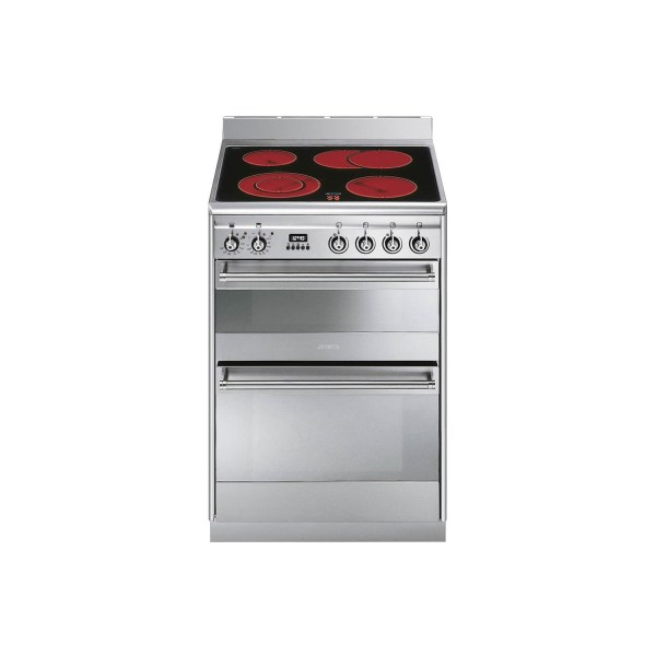 Smeg SUK62CMX8 60cm Wide Double Oven Stainless Steel Electric Cooker With Ceramic Hob